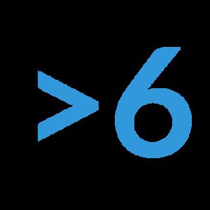 numero 6 azul